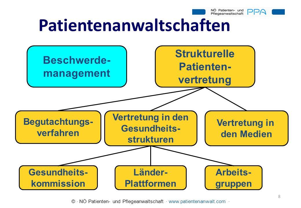 © · NÖ Patienten- und Pflegeanwaltschaft · www.patientenanwalt.com · Polypharmakotherapie und unangemessene Verschreibung bei älteren internistischen Patienten in Österreich, 2008 Verzichtbare Medikamente wurden bei 36,3% aller Patienten gefunden; Medikamente, die für alte Menschen inadäquat sind, bei 30,1%; Doppelverordnungen bei 7,6%; Fehldosierungen bei 23,4% und potenzielle Medikamenteninteraktionen bei 65,8%.