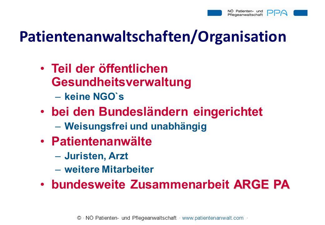 © · NÖ Patienten- und Pflegeanwaltschaft · www.patientenanwalt.com · Patientenanwaltschaften/Organisation Teil der öffentlichen Gesundheitsverwaltung
