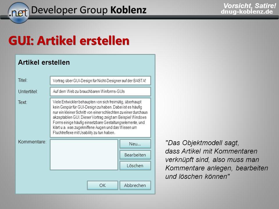 dnug-koblenz.de GUI: Artikel erstellen Artikel erstellen Titel: Vortrag über GUI-Design für Nicht-Designer auf der BASTA! Viele Entwickler behaupten v