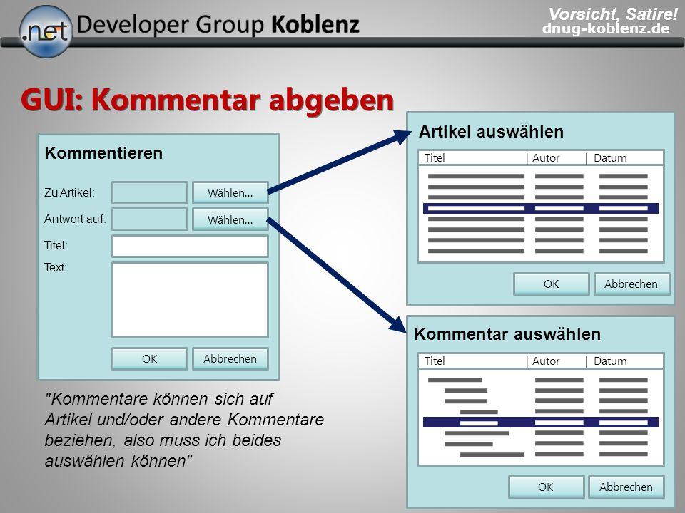 dnug-koblenz.de GUI: Kommentar abgeben Kommentieren Antwort auf: Titel: Zu Artikel: Text: AbbrechenOK Wählen... Artikel auswählen AbbrechenOK Titel |