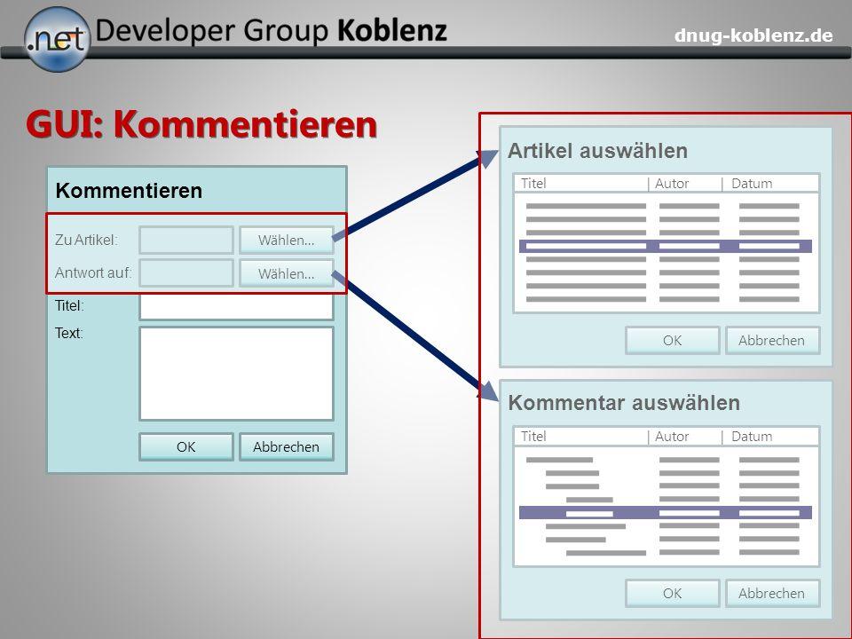 dnug-koblenz.de GUI: Kommentieren Kommentieren Antwort auf: Titel: Zu Artikel: Text: AbbrechenOK Wählen... Artikel auswählen AbbrechenOK Titel | Autor