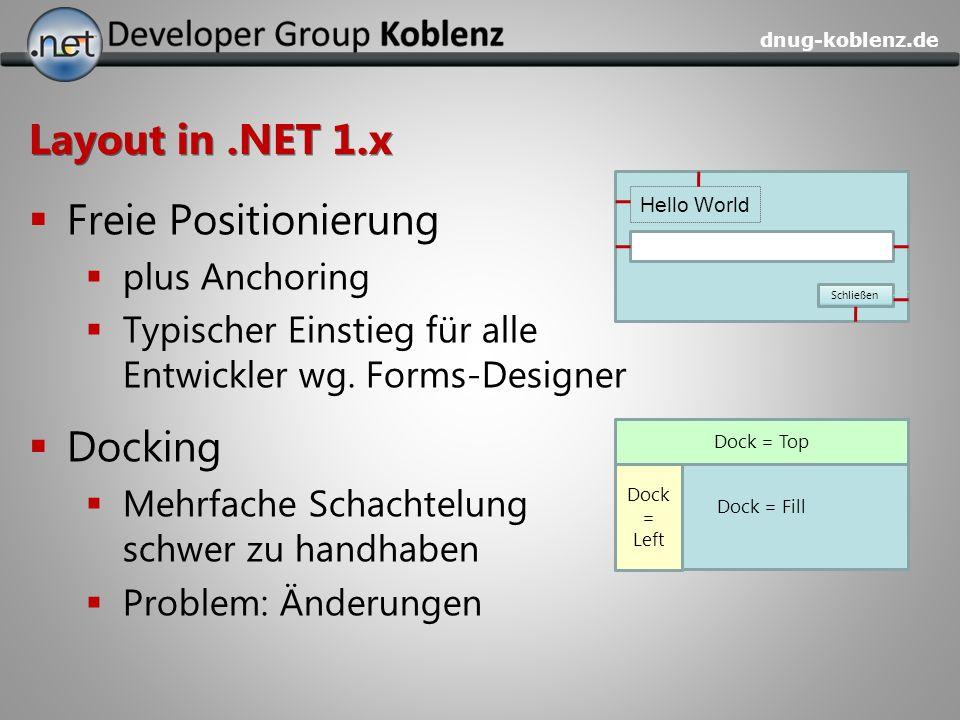 dnug-koblenz.de Layout in.NET 1.x Freie Positionierung plus Anchoring Typischer Einstieg für alle Entwickler wg. Forms-Designer Docking Mehrfache Scha