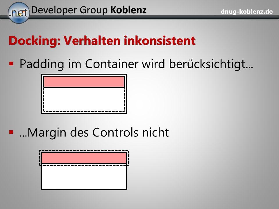dnug-koblenz.de Docking: Verhalten inkonsistent Padding im Container wird berücksichtigt......Margin des Controls nicht