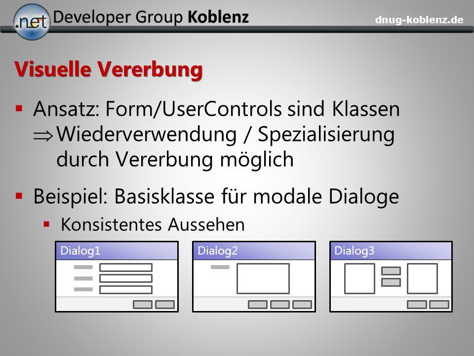 dnug-koblenz.de Visuelle Vererbung Ansatz: Form/UserControls sind Klassen Wiederverwendung / Spezialisierung durch Vererbung möglich Beispiel: Basiskl