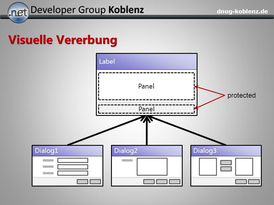 dnug-koblenz.de Visuelle Vererbung Dialog1Dialog2Dialog3 Label Panel protected