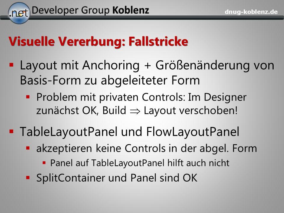 dnug-koblenz.de Visuelle Vererbung: Fallstricke Layout mit Anchoring + Größenänderung von Basis-Form zu abgeleiteter Form Problem mit privaten Control