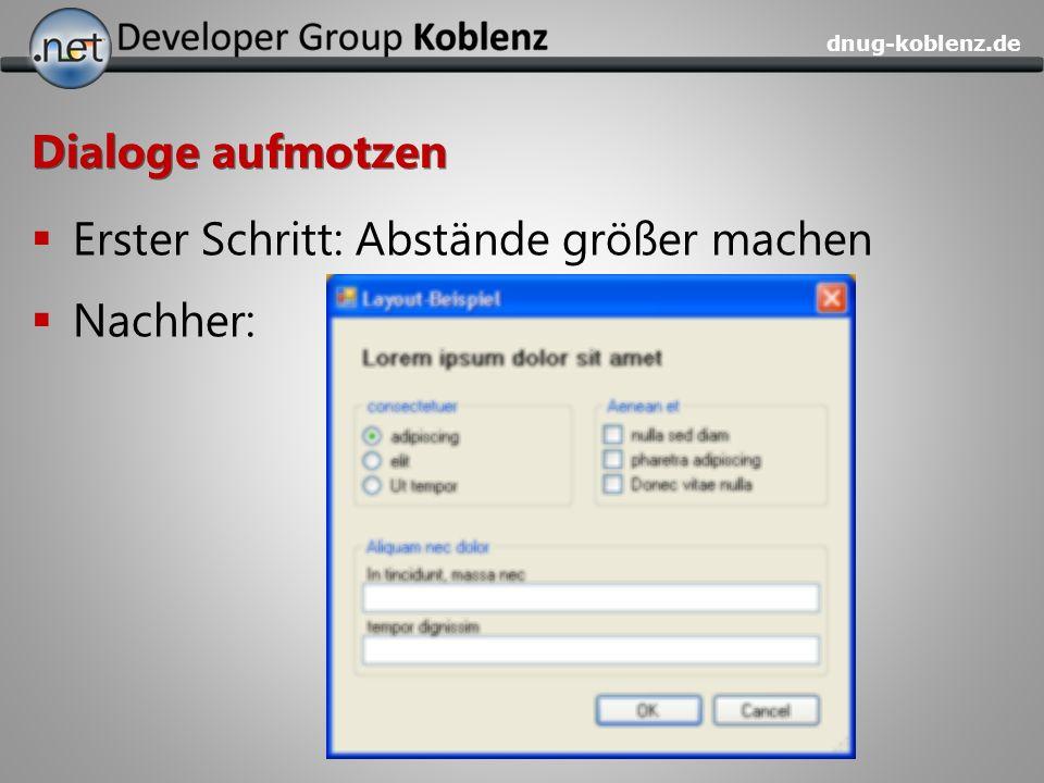 dnug-koblenz.de Dialoge aufmotzen Erster Schritt: Abstände größer machen Nachher: