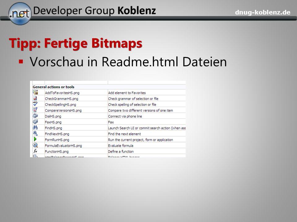 dnug-koblenz.de Tipp: Fertige Bitmaps Vorschau in Readme.html Dateien