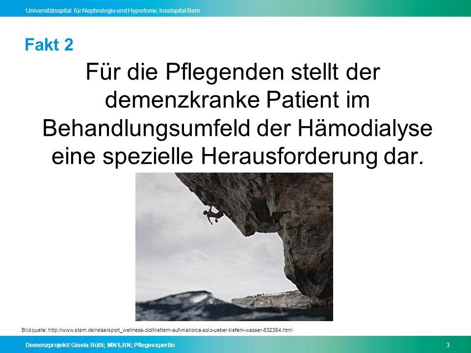 Demenzprojekt/ Gisela Rütti; MNS,RN; Pflegeexpertin14 Universitätsspital für Nephrologie und Hypertonie; Inselspital Bern Leitfaden 4