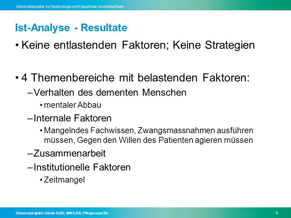 Demenzprojekt/ Gisela Rütti; MNS,RN; Pflegeexpertin10 Universitätsspital für Nephrologie und Hypertonie; Inselspital Bern Ist-Analyse - Resultate Internale Faktoren