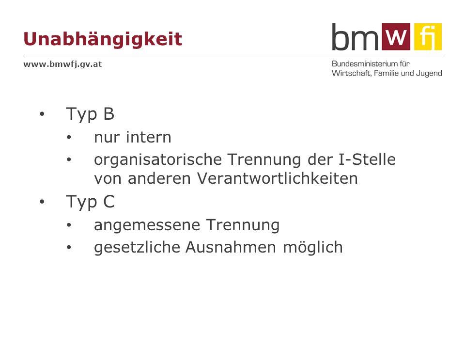 www.bmwfj.gv.at Unabhängigkeit Typ B nur intern organisatorische Trennung der I-Stelle von anderen Verantwortlichkeiten Typ C angemessene Trennung ges