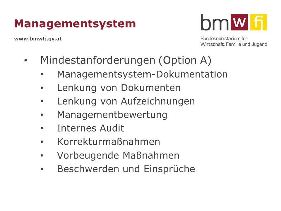 www.bmwfj.gv.at Managementsystem Mindestanforderungen (Option A) Managementsystem-Dokumentation Lenkung von Dokumenten Lenkung von Aufzeichnungen Mana