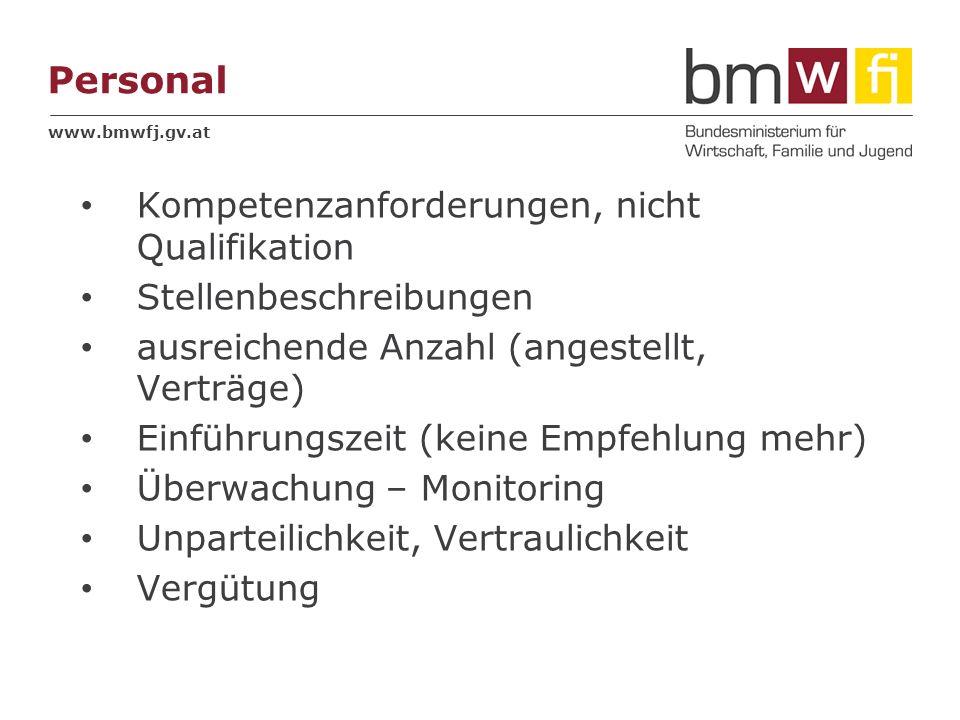 www.bmwfj.gv.at Personal Kompetenzanforderungen, nicht Qualifikation Stellenbeschreibungen ausreichende Anzahl (angestellt, Verträge) Einführungszeit