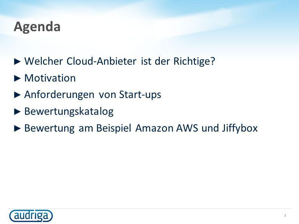 Agenda Welcher Cloud-Anbieter ist der Richtige? Motivation Anforderungen von Start-ups Bewertungskatalog Bewertung am Beispiel Amazon AWS und Jiffybox