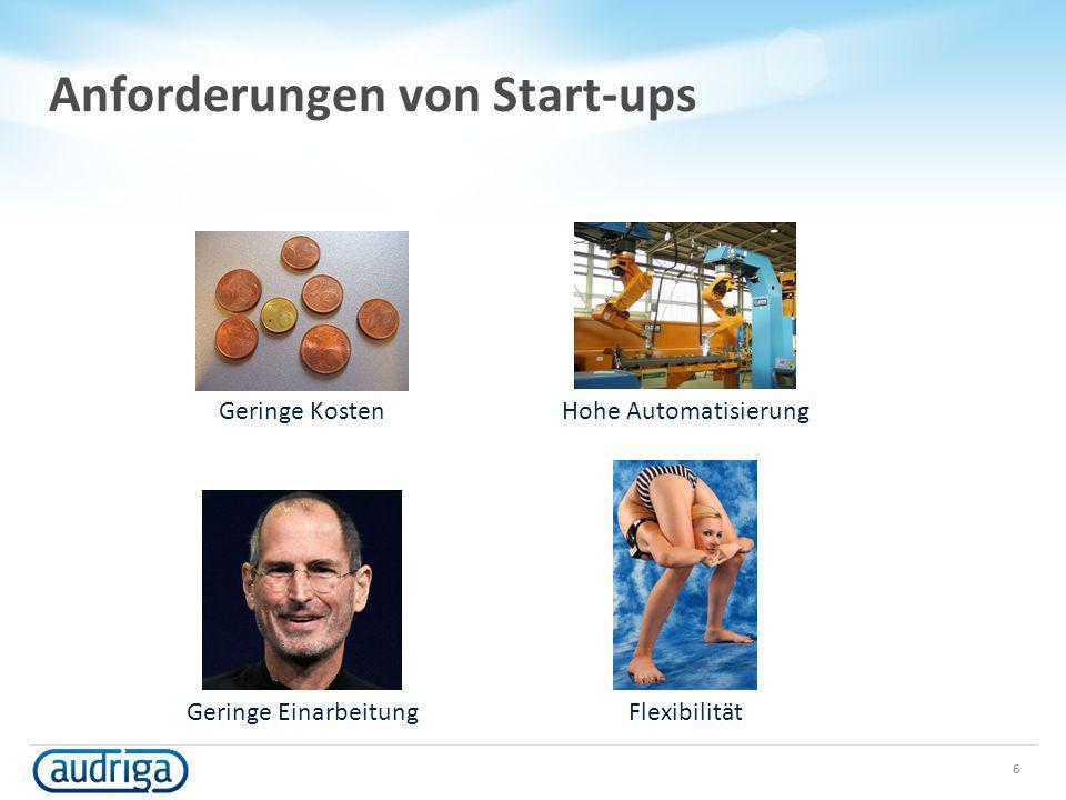 Anforderungen von Start-ups 6 Geringe Kosten Hohe Automatisierung Geringe Einarbeitung Flexibilität