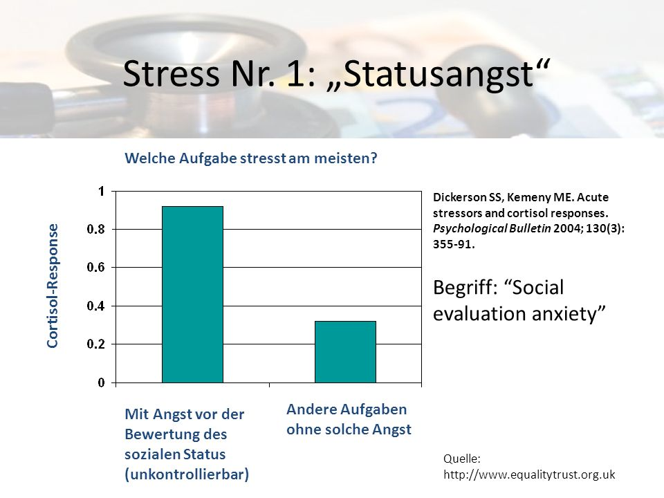 Stress Nr. 1: Statusangst Dickerson SS, Kemeny ME. Acute stressors and cortisol responses. Psychological Bulletin 2004; 130(3): 355-91. Quelle: http:/