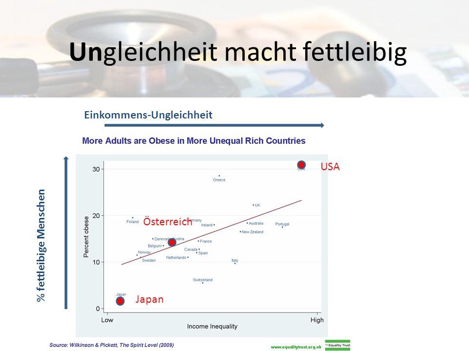 Gleichheit hält gesund USA Österreich Japan Einkommens-Ungleichheit Lebenserwartung (Jahre)