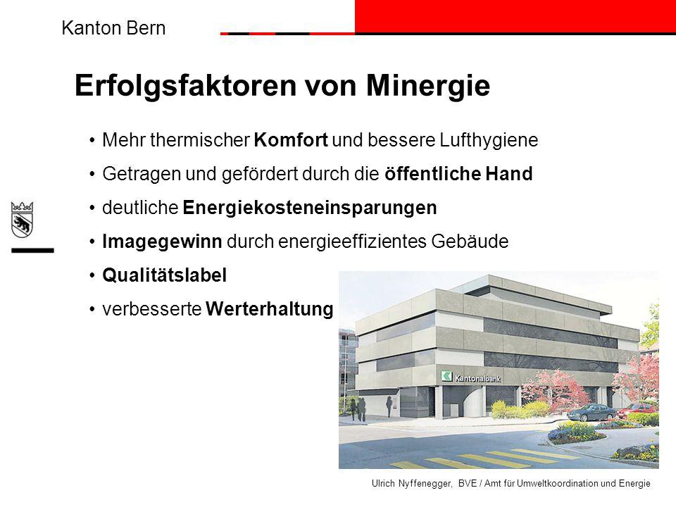 Kanton Bern Ulrich Nyffenegger, BVE / Amt für Umweltkoordination und Energie Erfolgsfaktoren von Minergie Mehr thermischer Komfort und bessere Lufthyg