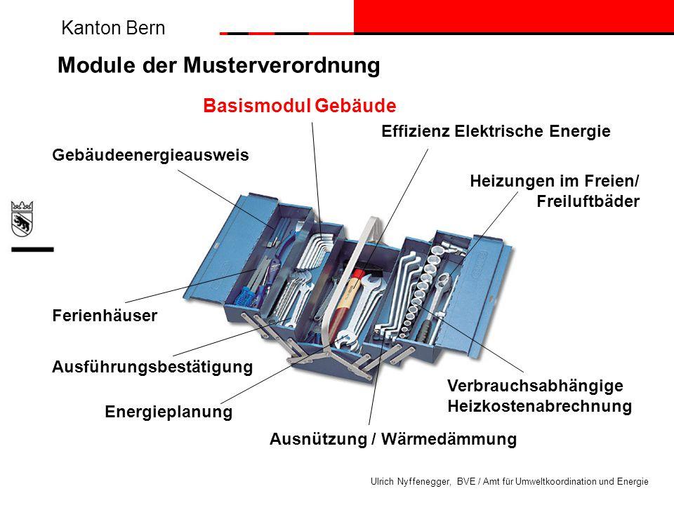 Kanton Bern Ulrich Nyffenegger, BVE / Amt für Umweltkoordination und Energie Energieeffizienz Gesetz Förderbeiträge Labels Push and pull – Strategie für Gebäudepark Gesetz Basisanforderungen - gute Gebäudehülle - max.