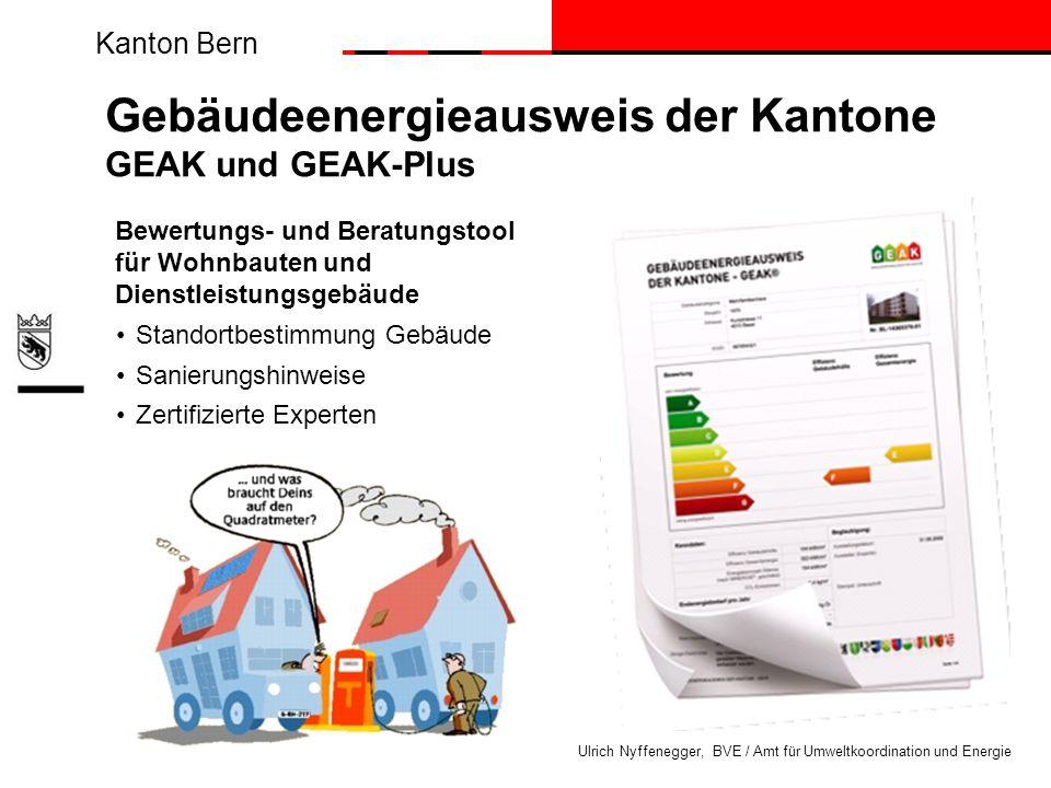 Kanton Bern Ulrich Nyffenegger, BVE / Amt für Umweltkoordination und Energie Bewertungs- und Beratungstool für Wohnbauten und Dienstleistungsgebäude S
