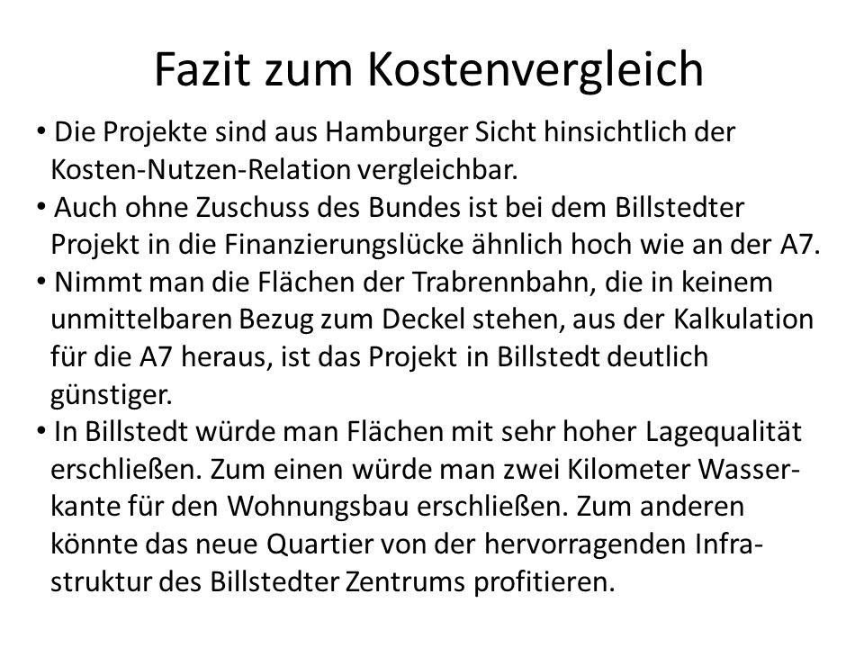 Fazit zum Kostenvergleich Die Projekte sind aus Hamburger Sicht hinsichtlich der Kosten-Nutzen-Relation vergleichbar. Auch ohne Zuschuss des Bundes is