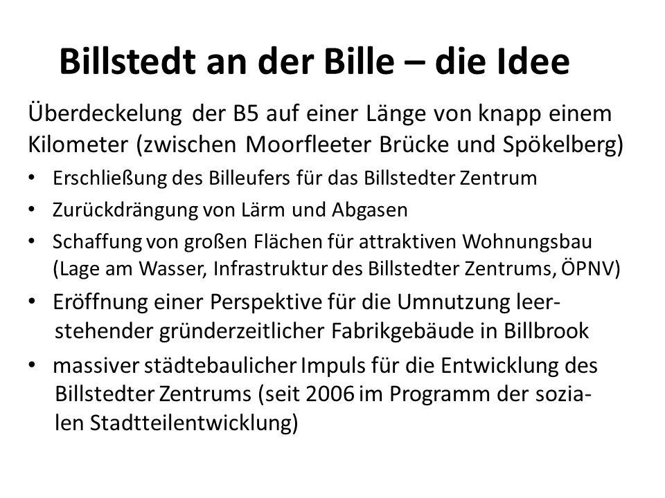 Billstedt an der Bille – die Idee Überdeckelung der B5 auf einer Länge von knapp einem Kilometer (zwischen Moorfleeter Brücke und Spökelberg) Erschlie