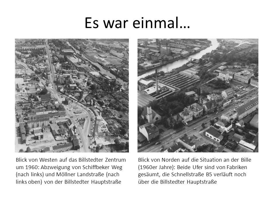 Es war einmal… Blick von Westen auf das Billstedter Zentrum um 1960: Abzweigung von Schiffbeker Weg (nach links) und Möllner Landstraße (nach links ob