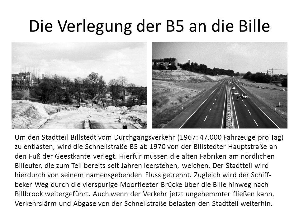 Kostenvergleich A7 / B5 A7B5 (Kosten grob und tendenziell hoch geschätzt) Länge2.200m850m Breitebis zu 8 Fahrspuren4 Fahrspuren Verkehrsaufkommen (tägl.)125.000 Fahrzeuge69.000 Fahrzeuge Kosten314 Mio < 125 Mio Flächen für Wohnungsbau22-30 ha14 ha Kosten Hamburg (Anteil Bund 60%)167 Mio < 50 Mio Erlös aus dem Verkauf frei gewordener Flächen 126 Mio (Trabrennbahn 24 Mio ) 14 Mio (7 ha zu 200 /qm, niedrig geschätzt) Finanzierungslücke41 Mio < 36 Mio Wohnungsbauvolumen1600-1900 WE1200 WE neue Bewohner4000-48003000 Steuermehreinnahmen pro Jahr12 – 14,5 Mio 9 Mio