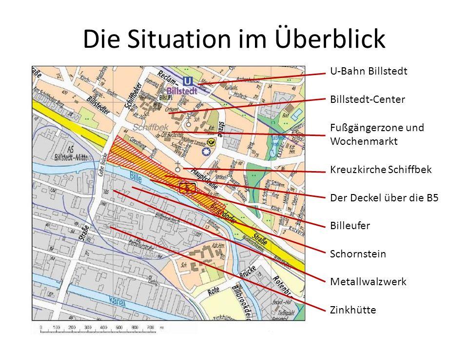 Die Situation im Überblick U-Bahn Billstedt Billstedt-Center Fußgängerzone und Wochenmarkt Kreuzkirche Schiffbek Der Deckel über die B5 Billeufer Scho