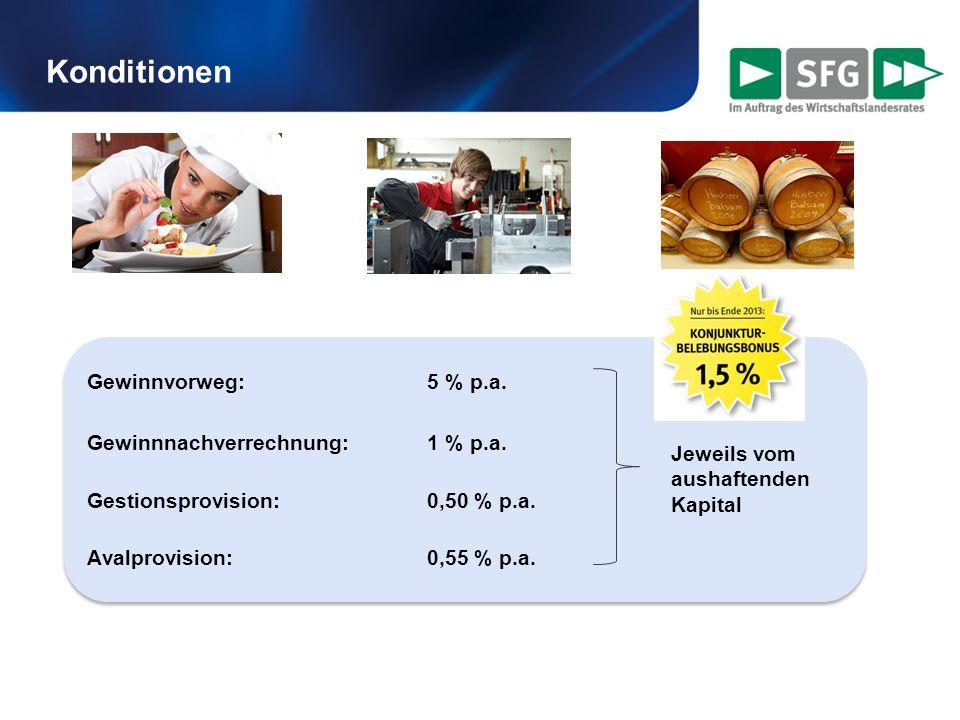 Konditionen Gewinnvorweg: 5 % p.a. Gewinnnachverrechnung: 1 % p.a. Gestionsprovision:0,50 % p.a. Avalprovision: 0,55 % p.a. Gewinnvorweg: 5 % p.a. Gew