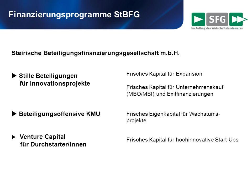 Finanzierungsprogramme StBFG Steirische Beteiligungsfinanzierungsgesellschaft m.b.H. Stille Beteiligungen für Innovationsprojekte Beteiligungsoffensiv