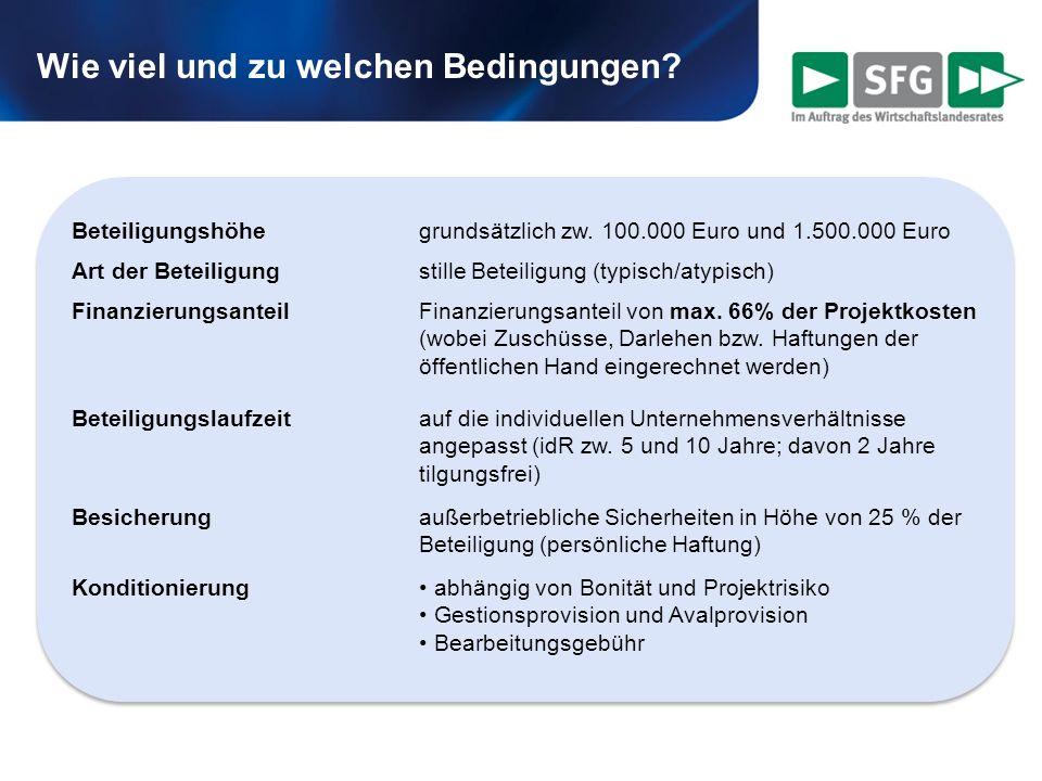 Wie viel und zu welchen Bedingungen? Beteiligungshöhegrundsätzlich zw. 100.000 Euro und 1.500.000 Euro Art der Beteiligungstille Beteiligung (typisch/