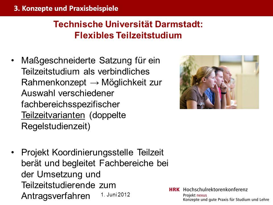 Technische Universität Darmstadt: Flexibles Teilzeitstudium Maßgeschneiderte Satzung für ein Teilzeitstudium als verbindliches Rahmenkonzept Möglichke
