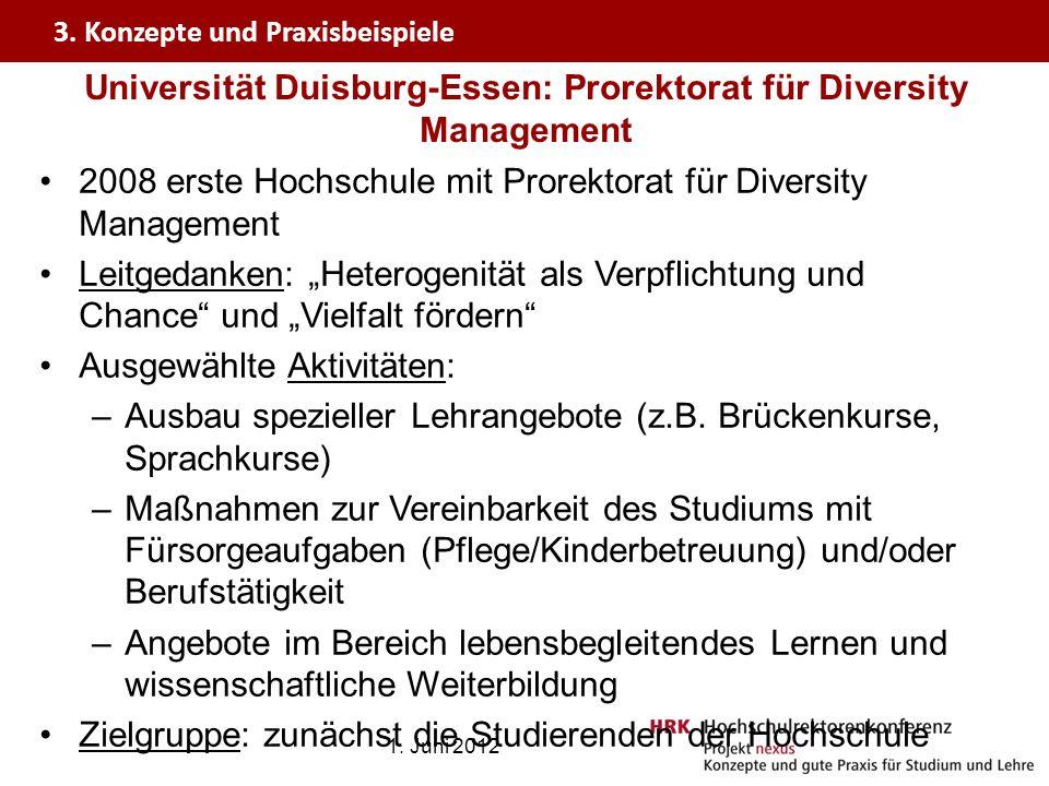 Universität Duisburg-Essen: Prorektorat für Diversity Management 2008 erste Hochschule mit Prorektorat für Diversity Management Leitgedanken: Heteroge