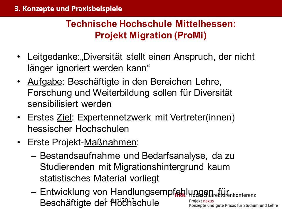 Technische Hochschule Mittelhessen: Projekt Migration (ProMi) Leitgedanke:Diversität stellt einen Anspruch, der nicht länger ignoriert werden kann Auf