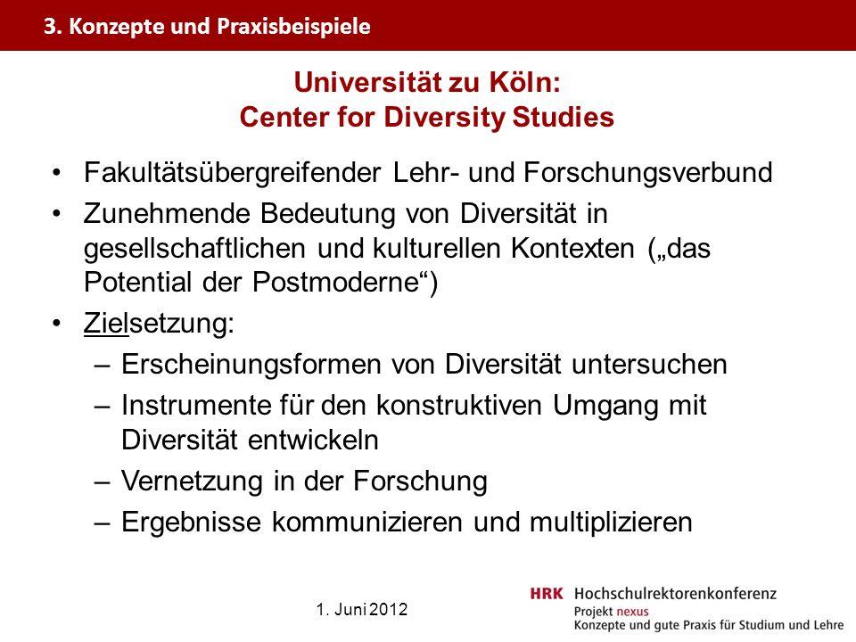 Universität zu Köln: Center for Diversity Studies Fakultätsübergreifender Lehr- und Forschungsverbund Zunehmende Bedeutung von Diversität in gesellsch