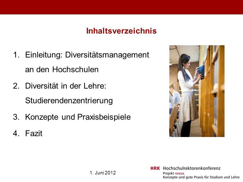 Inhaltsverzeichnis 1.Einleitung: Diversitätsmanagement an den Hochschulen 2.Diversität in der Lehre: Studierendenzentrierung 3.Konzepte und Praxisbeis