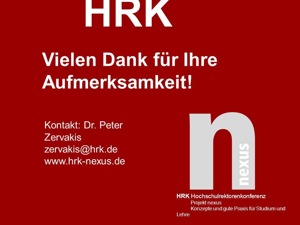 HRK HRK Hochschulrektorenkonferenz Projekt nexus Konzepte und gute Praxis für Studium und Lehre Vielen Dank für Ihre Aufmerksamkeit! Kontakt: Dr. Pete