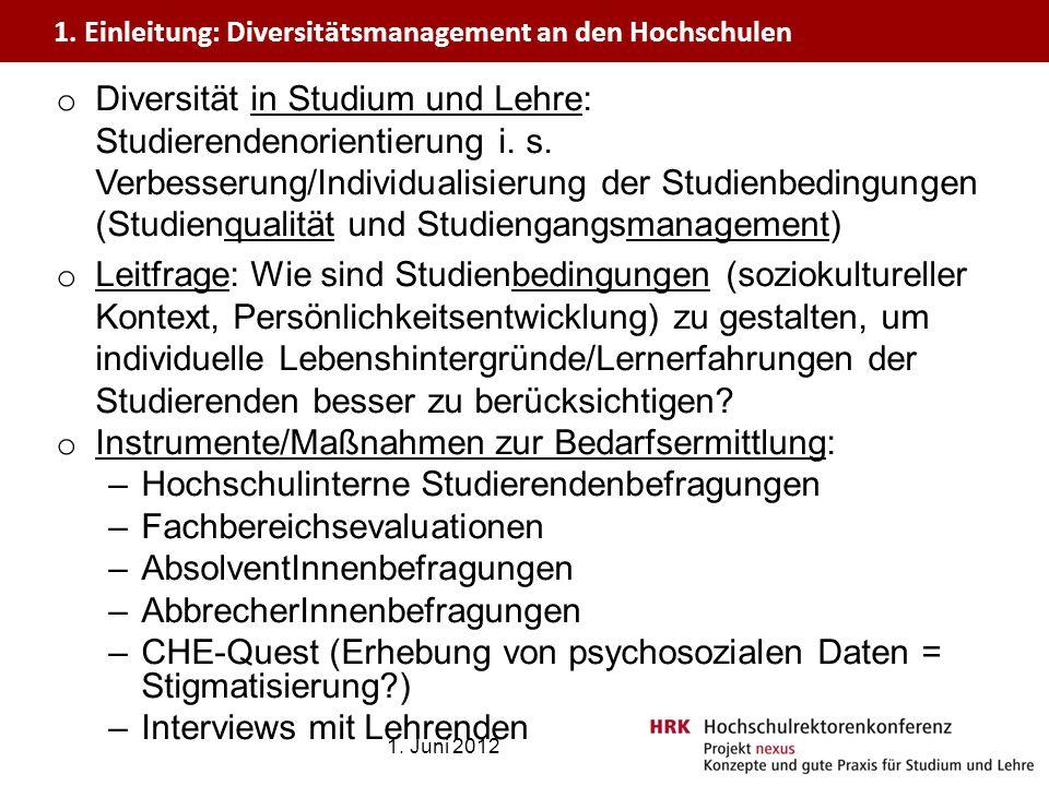 o Diversität in Studium und Lehre: Studierendenorientierung i. s. Verbesserung/Individualisierung der Studienbedingungen (Studienqualität und Studieng