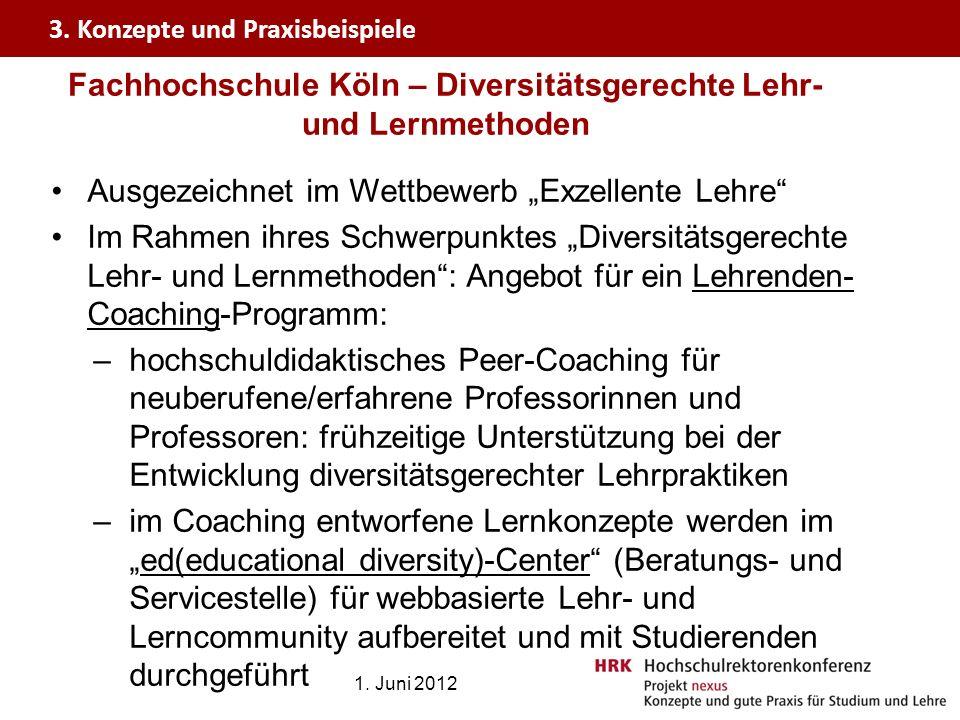 Fachhochschule Köln – Diversitätsgerechte Lehr- und Lernmethoden Ausgezeichnet im Wettbewerb Exzellente Lehre Im Rahmen ihres Schwerpunktes Diversität