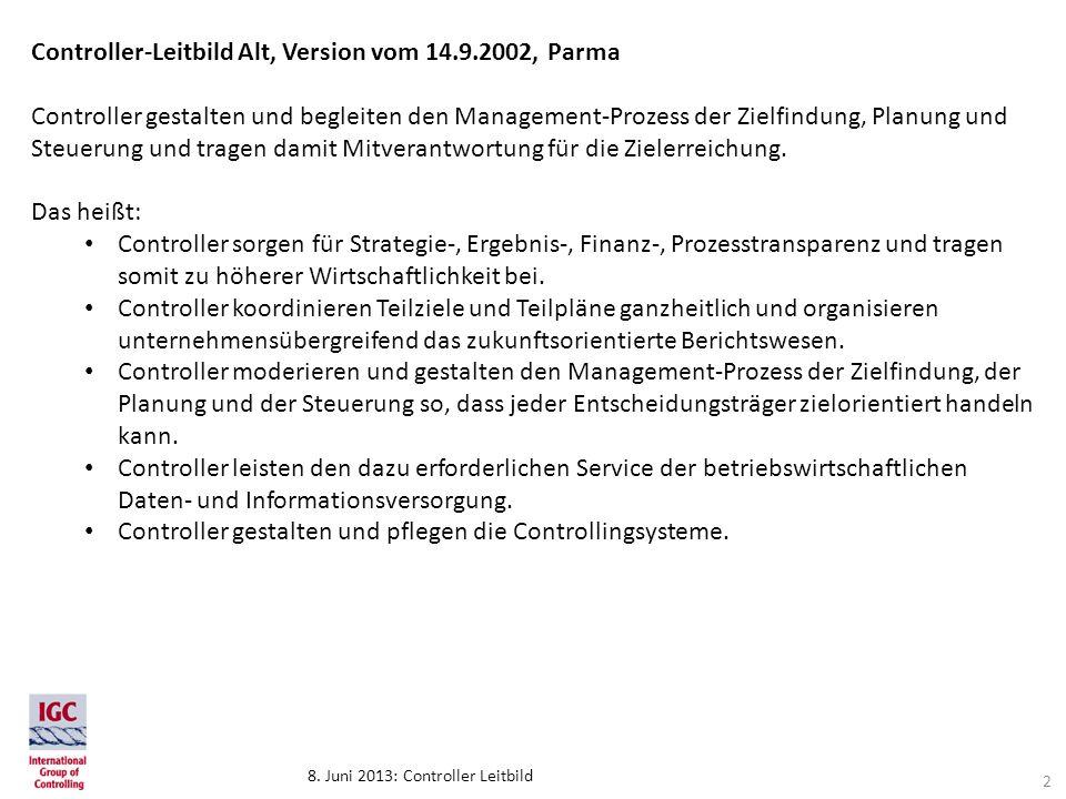 8. Juni 2013: Controller Leitbild Controller-Leitbild Alt, Version vom 14.9.2002, Parma Controller gestalten und begleiten den Management-Prozess der