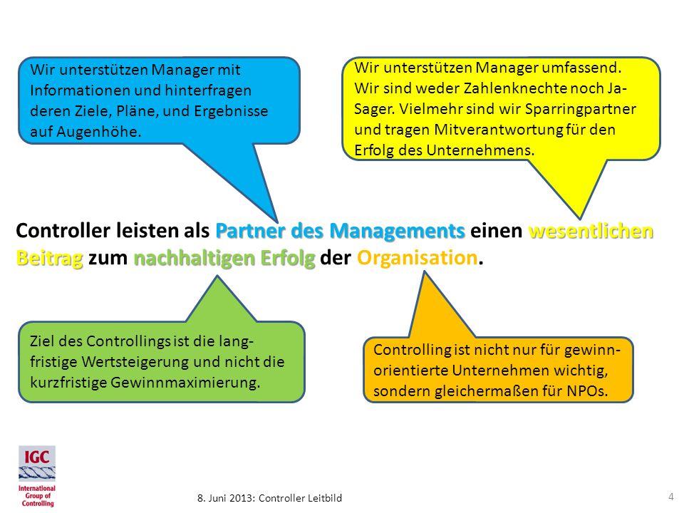 8. Juni 2013: Controller Leitbild Partner des Managements wesentlichen Beitragnachhaltigen Erfolg Controller leisten als Partner des Managements einen