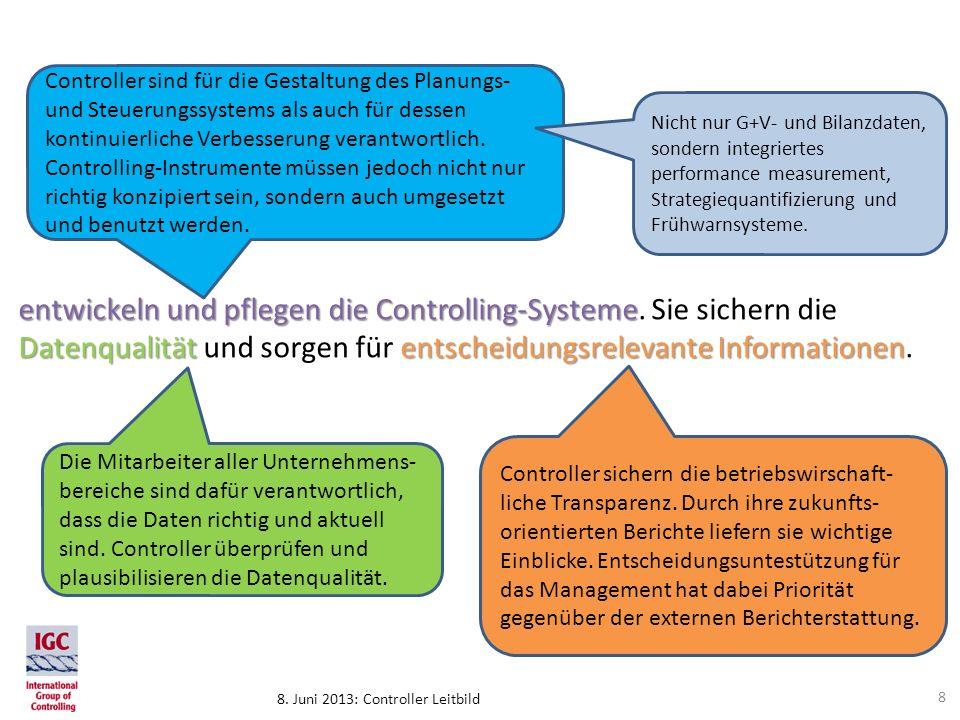 8. Juni 2013: Controller Leitbild entwickeln und pflegen die Controlling-Systeme Datenqualitätentscheidungsrelevante Informationen entwickeln und pfle