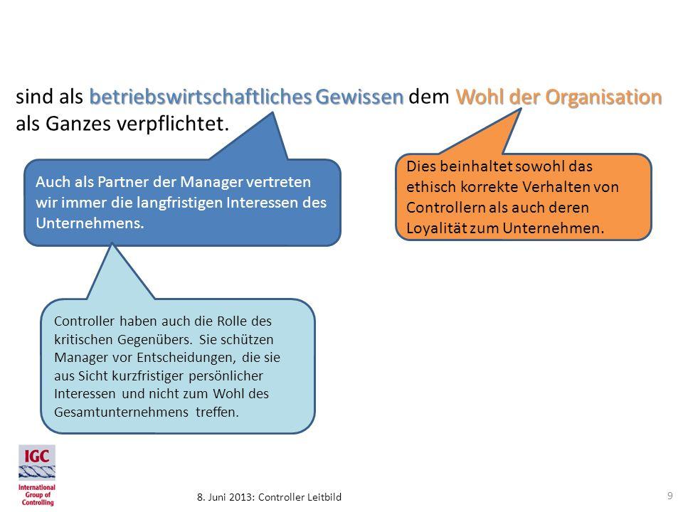 8. Juni 2013: Controller Leitbild Auch als Partner der Manager vertreten wir immer die langfristigen Interessen des Unternehmens. betriebswirtschaftli