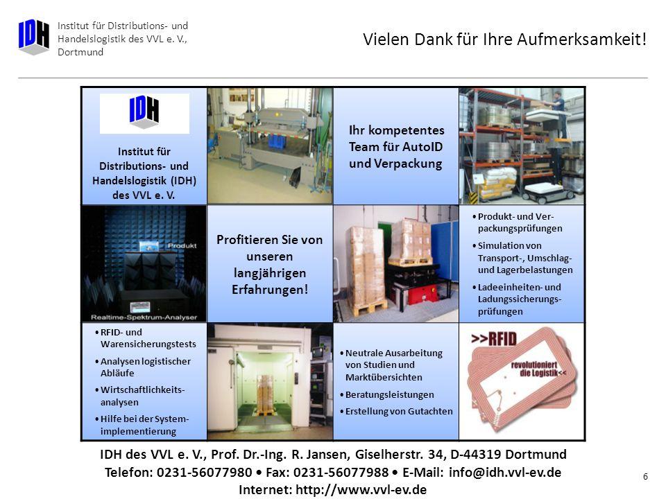 Institut für Distributions- und Handelslogistik des VVL e. V., Dortmund Lösungsansatz 5 Auslegung der Ladungssicherung ( Was, Wie, Womit)Beachtung der