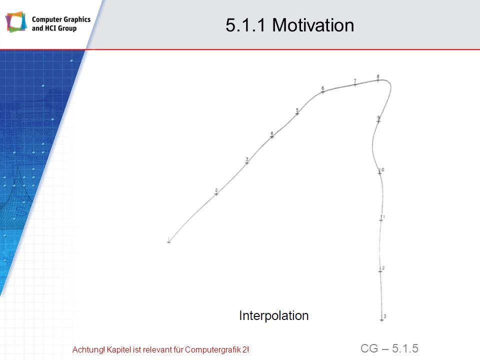 5.1.2 Interpolationsproblem Gegeben: n+1 Paare reeller Zahlen (t i, f i ) für i = 0,…,n mit paarweise disjunkten Stützstellen t i,t i t j für i j Gesucht: Ein Polynom p vom Grad n, (1) mit reellen Koeffizienten c j heißt Interpolationspolynom zu (t i, f i ), wenn (2) Achtung.