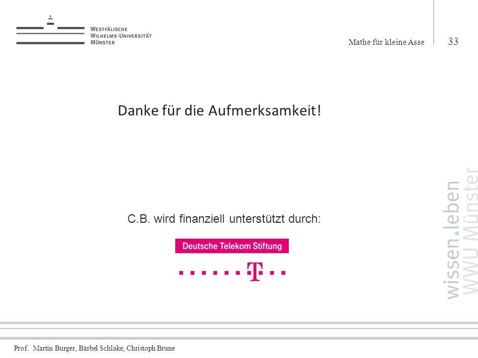 Prof.Martin Burger, Bärbel Schlake, Christoph Brune Danke für die Aufmerksamkeit.