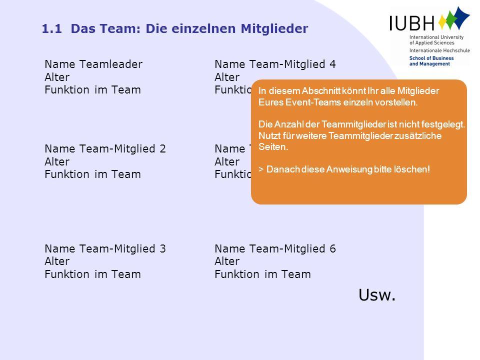 1.1 Das Team: Die einzelnen Mitglieder Name Team-Mitglied 4 Alter Funktion im Team Name Team-Mitglied 5 Alter Funktion im Team Name Team-Mitglied 6 Al
