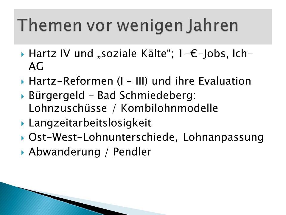 Hartz IV und soziale Kälte; 1--Jobs, Ich- AG Hartz-Reformen (I – III) und ihre Evaluation Bürgergeld – Bad Schmiedeberg: Lohnzuschüsse / Kombilohnmode
