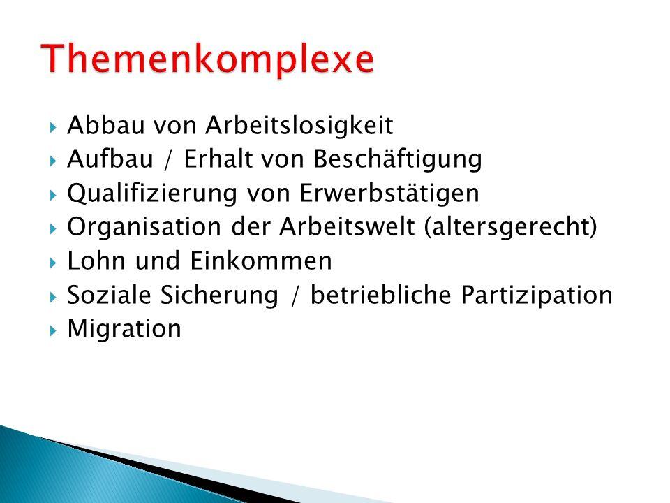 Abbau von Arbeitslosigkeit Aufbau / Erhalt von Beschäftigung Qualifizierung von Erwerbstätigen Organisation der Arbeitswelt (altersgerecht) Lohn und Einkommen Soziale Sicherung / betriebliche Partizipation Migration